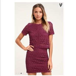 NWT! Lulus magenta lace top and skirt set